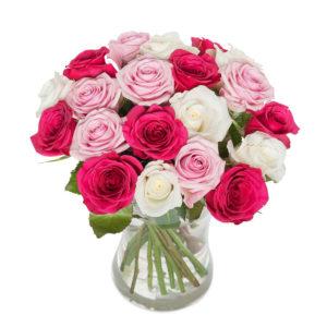 Bukett med rosa, vita och cerice rosor. Skicka dem med ett bud från Euroflorist!