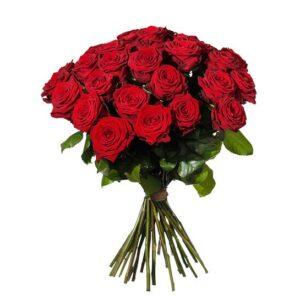Bukett med 30 röda rosor.