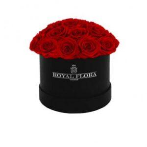 Rund rosbox, fylld med röda rosor. En lyxig gåva - beställ online hos Florister i Sverige