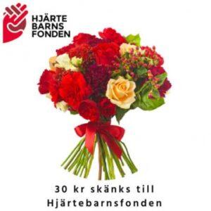 Bukett med rosor och andra blommor i blandade, varma färger. Beställ ett blomsterbud i Florister i Sveriges webbutik!